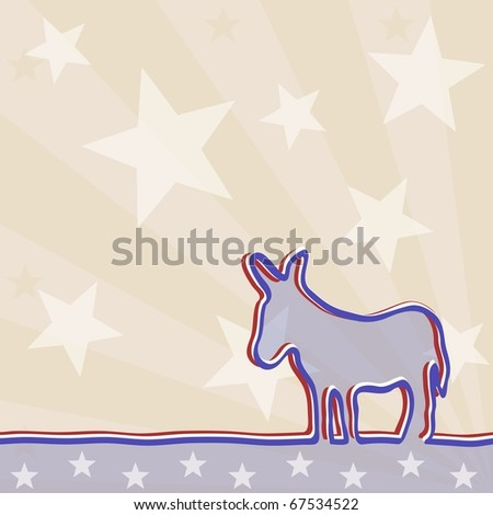 Political background with a donkey (jpg); vector version also available - stock photo