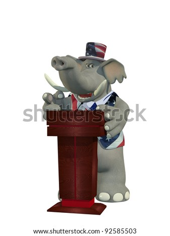 Political Debate - Republican Elephant pointing his finger behind a podium while giving a passionate speech. - stock photo