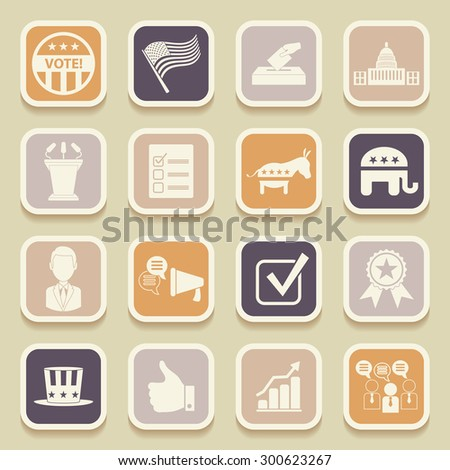 Political election campaign universal icons for web and mobile applications. Raster version - stock photo