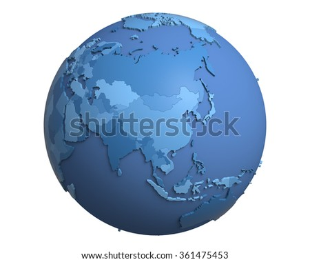 Political globe with blue, extruded countries, centered on China - stock photo