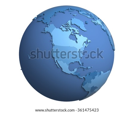Political globe with blue, extruded countries, centered on North America - stock photo