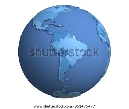 Political globe with blue, extruded countries, centered on South America - stock photo