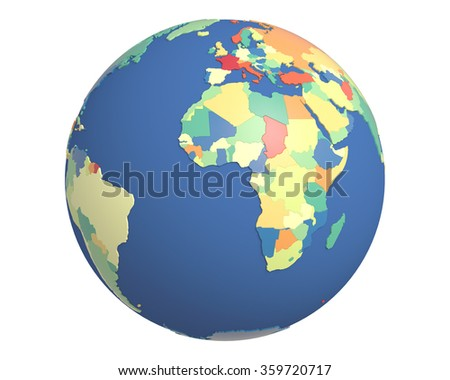 Political globe with colored, extruded countries, centered on Africa. - stock photo