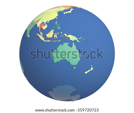 Political globe with colored, extruded countries, centered on Australia. - stock photo