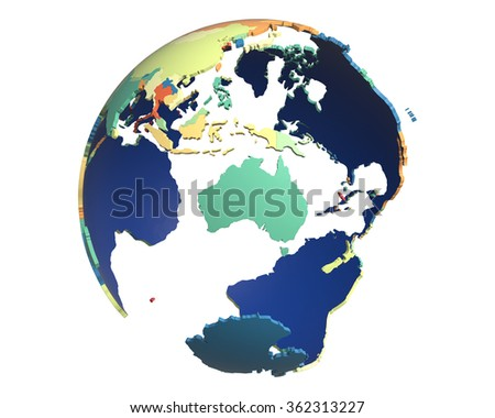 Political globe with colored, extruded countries, centered on Australia - stock photo