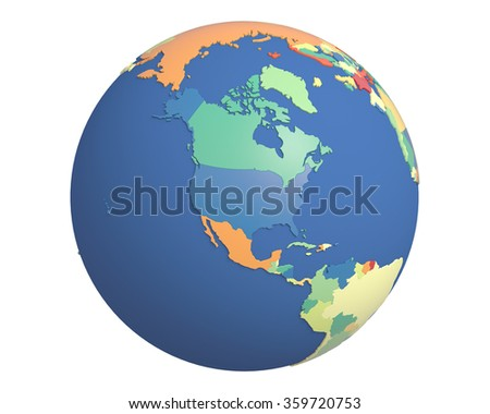 Political globe with colored, extruded countries, centered on North America. - stock photo