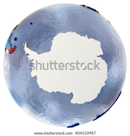 Political map of Antarctica with each country represented by its national flag. Isolated on white background. - stock photo