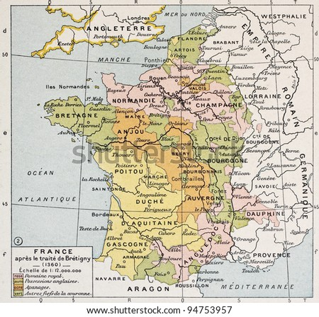 Political map of France in 1360. By Paul Vidal de Lablache, Atlas Classique, Librerie Colin, Paris, 1894 - stock photo