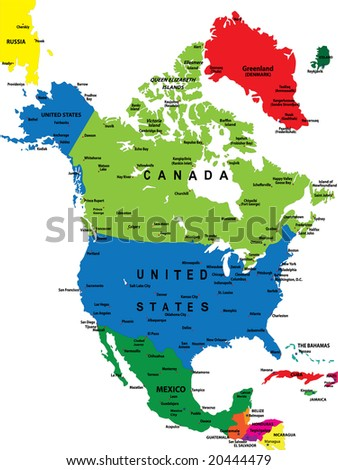 Political map of North America - stock photo