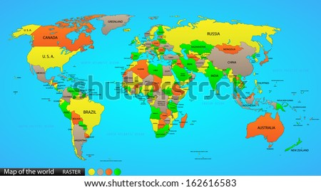 Political map of the world, illustration - stock photo