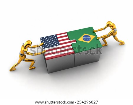 Political or financial concept of the USA struggling and finding a solution with Brazil. - stock photo