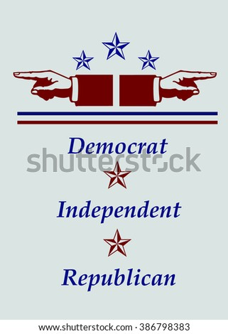 Political Parties - Democrat, Independent & Republican - Illustration - stock photo