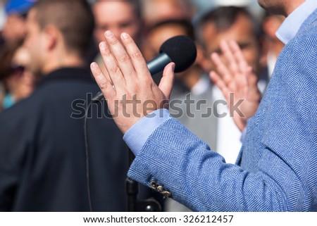 Politician or businessman speech - stock photo