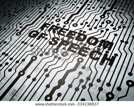 Politics concept: circuit board with  word Freedom Of Speech, 3d render - stock photo