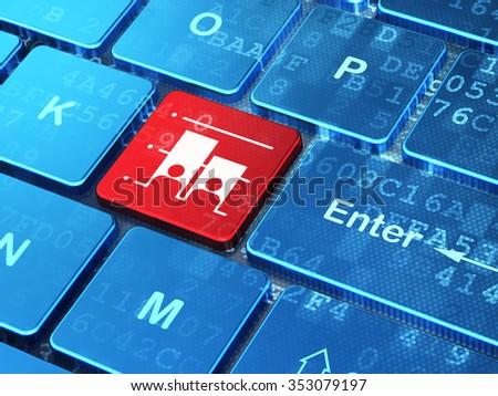 Politics concept: computer keyboard with Election icon on enter button background, 3d render - stock photo
