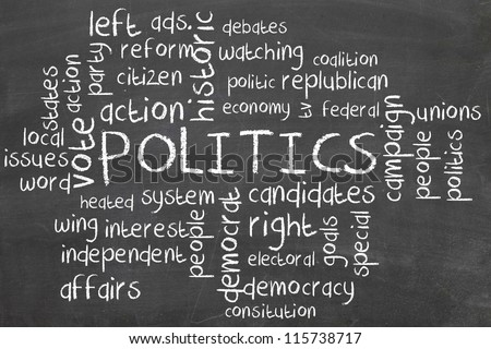 politics word cloud on blackboard - stock photo