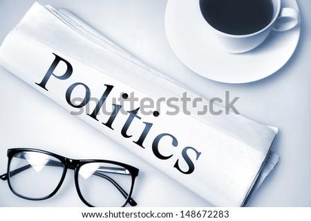 Politics word on newspaper  - stock photo