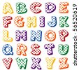 Polka Dot Alphabet.  Original letter design in vivid multicolor polka dots on a white background for scrapbooks, albums, crafts and back to school projects. - stock photo
