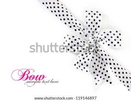 polka dot bow isolated on white background - stock photo