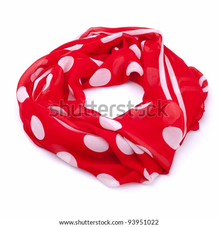 Polka dot scarf isolated on white background - stock photo