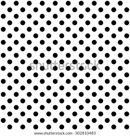 Polka dots background with black dots and white background - stock photo
