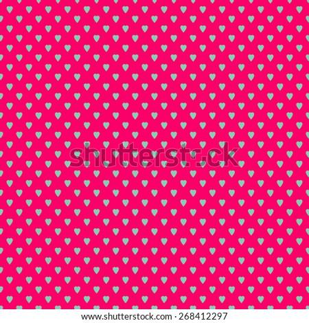 Polka dots seamless pattern with hearts - stock photo