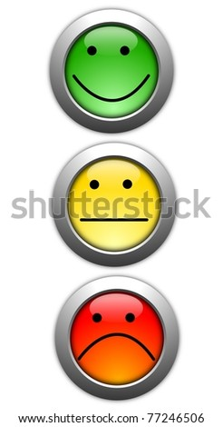 poll or customer satisfaction survey concept with smilie button - stock photo