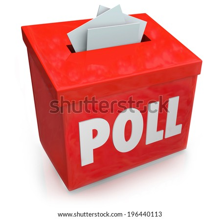 Poll word on a red collection box for votes, survey reponses or answers to questions  - stock photo