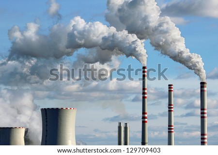 polluted smoke from coal power plant - stock photo