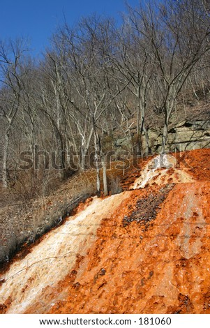 Polluted water from an old coal mine. - stock photo