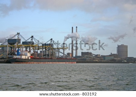 Polluting industry (IJmuiden - The Netherlands) - stock photo