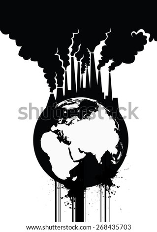 Pollution Earth Grunge  Illustration - stock photo