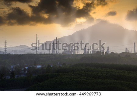 pollution industry , Factory pipe polluting air against sunset, environmental problems, smoke from chimneys . - stock photo
