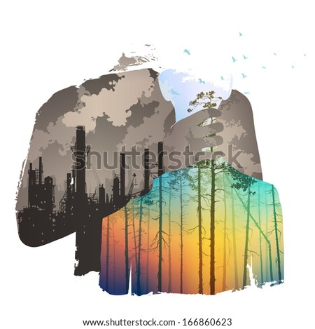 pollution of the atmosphere, bright colors, vector illustration - stock photo