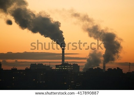 Pollution over the town - stock photo