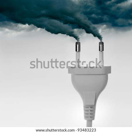 Pollution smoke going out a plug - Pollution/Ecology Concept - stock photo
