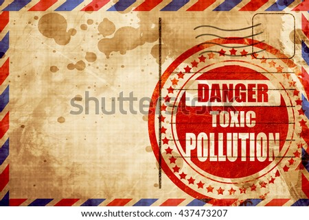 Pollution waste sign, red grunge stamp on an airmail background - stock photo