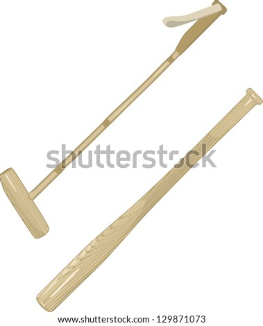 Polo Sticks and Baseball Bat. Raster version, vector file available in portfolio. - stock photo
