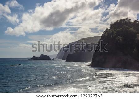 Pololu Valley cliffs in Big Island, Hawaii - stock photo