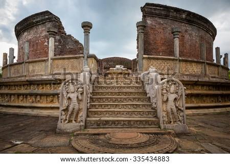Polonnaruwa ruin was the second capital of Sri Lanka after the destruction of Polonnaruwa. - stock photo