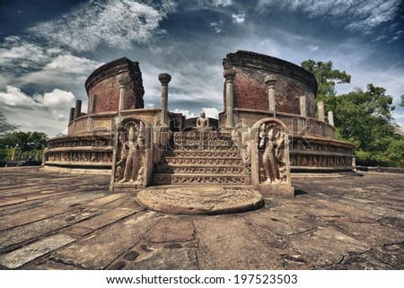 Polonnaruwa ruins. HDR photo of an ancient Vatadage monastery building in Sri Lanka - stock photo