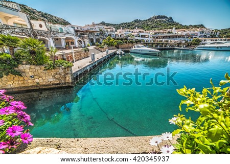 Poltu Quatu harbor on a clear day, Sardinia - stock photo