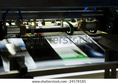 Poly-graphic process in a modern printing house - stock photo