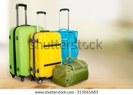 Polycarbonate suitcases. - stock photo