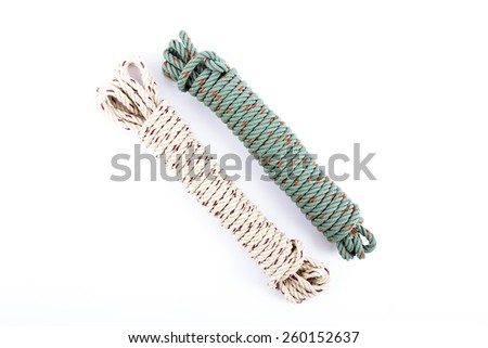 Polyester rope isolated on white background - stock photo