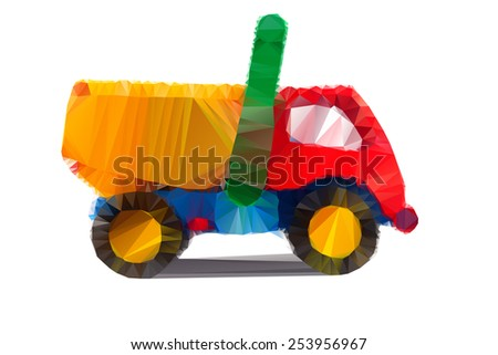 Polygonal illustration of colorful tipper isolated in white background - stock photo