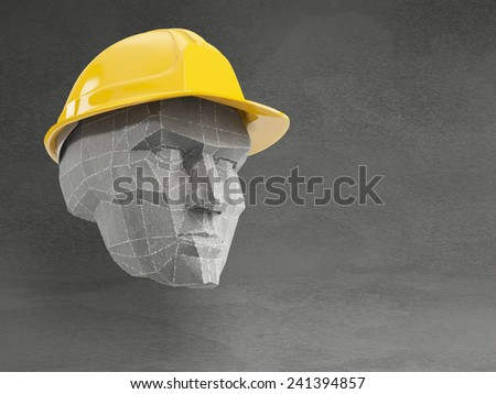 Polygonal men head with yellow safety helmet on grey background - stock photo