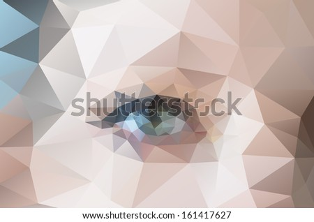 polygonal pattern image of female face with eye, raster version  - stock photo