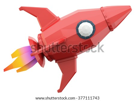 Polygonal space rocket isolated on white background. 3d render - stock photo
