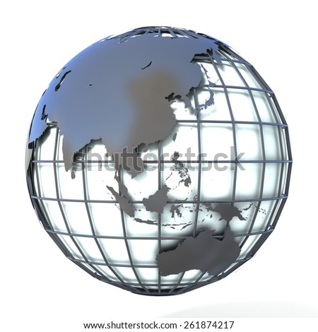 Polygonal style illustration of earth globe, Asia and Oceania view - stock photo